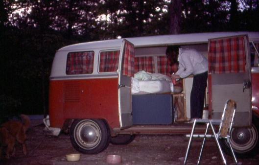 Donna (Mom) in our camper VW bus in 1971